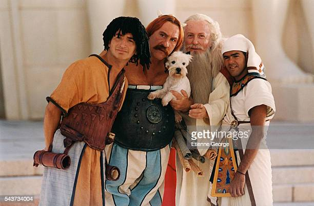French actors Edouard Baer Gerard Depardieu Claude Rich and Jamel Debbouze on the set of Asterix and Obelix Meet Cleopatra written by Rene Gosciny...