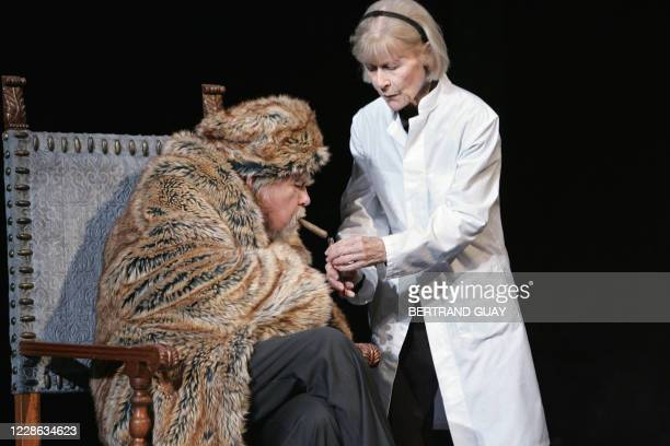 """French actors Eleonor Hirt and Michael Lonsdale perform a scene of Irish writer Samuel Beckett's play """"Catastrophe"""" directed by Michael Lonsdale 02..."""