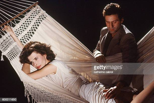 French actors Fanny Ardant and Daniel Auteuil on the set of the film Le Paltoquet directed by Michel Deville