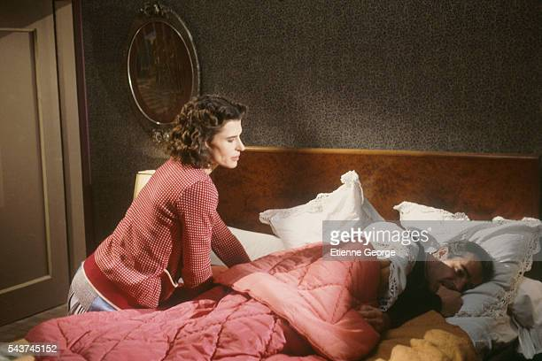 French actors Fanny Ardant and Pierre Arditi on the set of Melo directed by Alain Resnais based on the Henri Bernstein play Pierre Arditi won a Cesar...