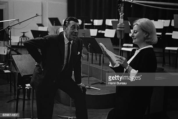 French actors Fernandel and Michele Morgan during a recording in a studio