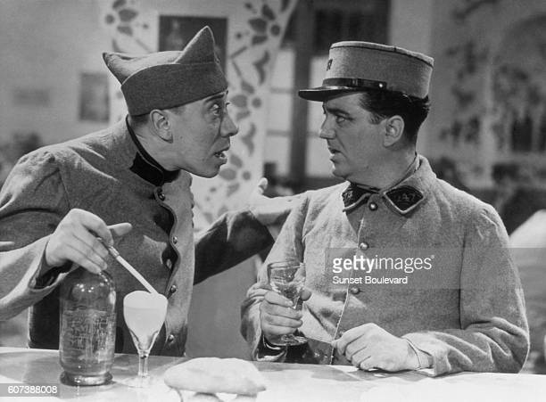 French actors Fernandel and Raymond Gordy on the set of the 1937 film 'Ignace' directed by Pierre Colombier