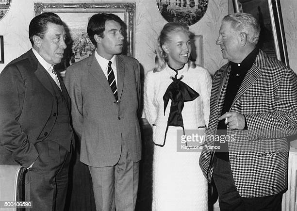 French actors Fernandel his son Franck Contandin Marie Dubois and Jean Gabin These actors are gathered toghether in Provence to shoot Gille...