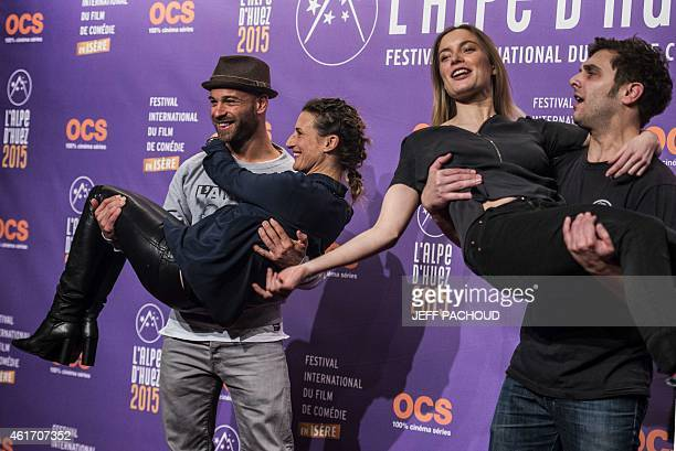 French actors Franck Gastambide Camille Cottin Adrianna Gradziel and Pio Marmai pose on January 17 2015 during the 18th Comedy film festival in...