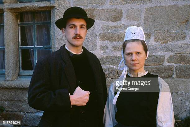 French actors Francois Cluzet and Bernadette Le Sache on the set of the film 'Le Cheval d'Orgueil' directed by French director Claude Chabrol and...