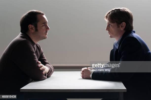 French actors FrançoisXavier Demaison and Benoît Magimel on the set of Sans laisser de traces written and directed by Grégoire Vigneron