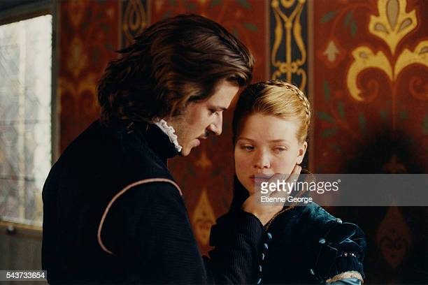 French actors Gaspard Ulliel and Melanie Thierry on the set of La Princesse de Montpensier written and directed by Bertrand Tavernier.
