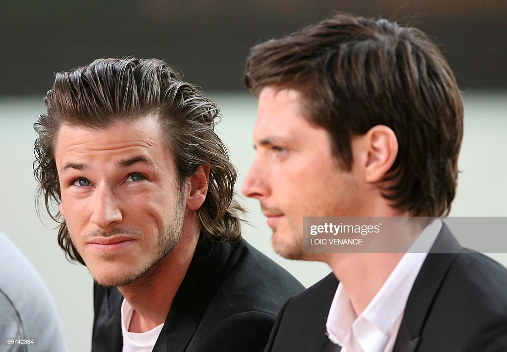 French actors Gaspard Ulliel (L) and Raphael Personnaz attend the Canal+ TV show 'Le Grand Journal' at the 63rd Cannes Film Festival on May 17, 2010 in Cannes.