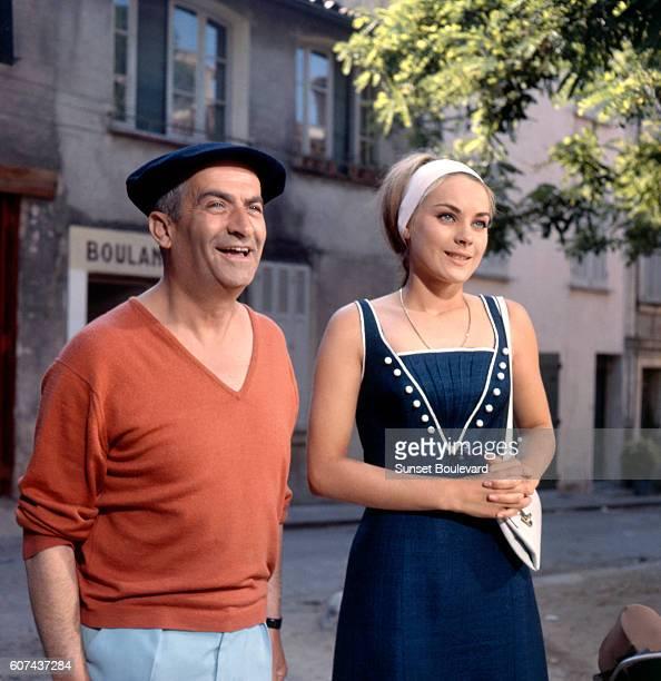 French actors Geneviève Grad and Louis de Funès on the set of Le Gendarme de SaintTropez written and directed by Jean Girault