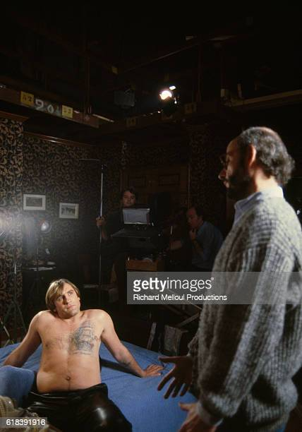 French actors Gerard Depardieu and Bertrand Blier on the movie set of Tenue de Soirée written and directed by Bertrand Blier