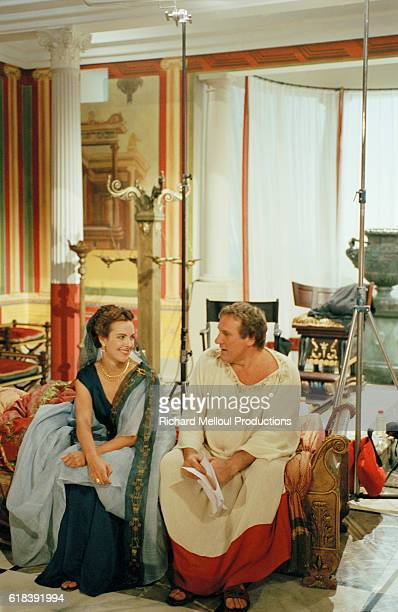 French actors Gerard Depardieu and Carole Bouquet on the set of Berenice by the director JeanDaniel Verhaeghe