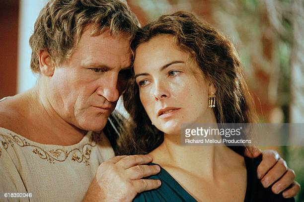 "French actors Gerard Depardieu and Carole Bouquet on the set of televised adaptation of ""Berenice"", directed by Jean-Daniel Verhaeghe."