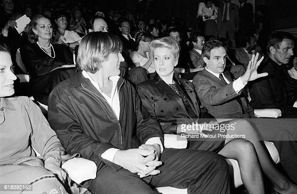 French actors Gerard Depardieu and Catherine Deneuve at the premiere of the film Le Dernier Metro by the French director Francois Truffaut