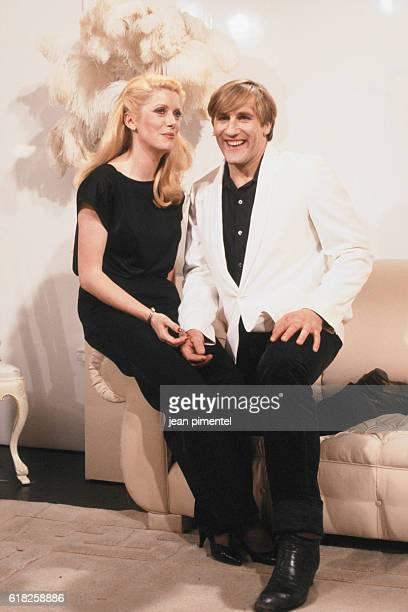French actors Gerard Depardieu and Catherine Deneuve on the set of musical television show Numéro Un.