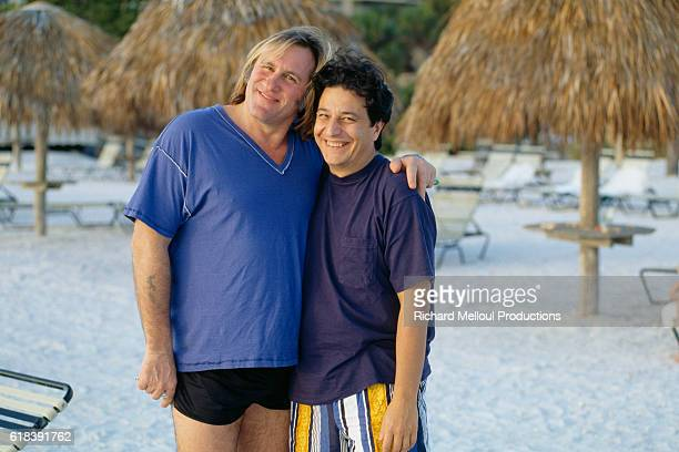 French actors Gerard Depardieu and Christian Clavier at the Sarasota French Film Festival in Florida