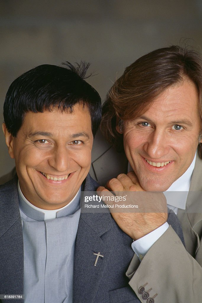 French Actors Gerard Depardieu and Christian Clavier : Photo d'actualité