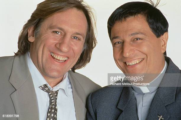 French actors Gerard Depardieu and Christian Clavier during the filming of Les Anges Gardiens