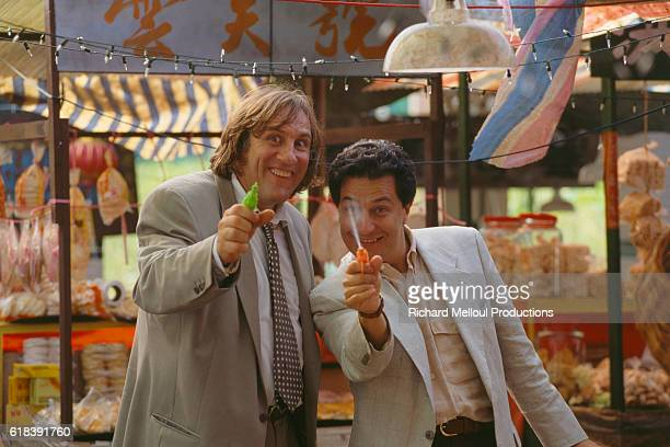 French actors Gerard Depardieu and Christian Clavier on the set of the film Les Anges Gardiens