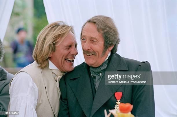 French actors Gerard Depardieu and Jean Rochefort on the set of TV film Le Comte de Monte Cristo
