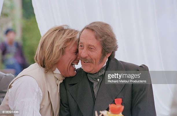 French actors Gerard Depardieu and Jean Rochefort on the set of TV film Le Comte de Monte Cristo