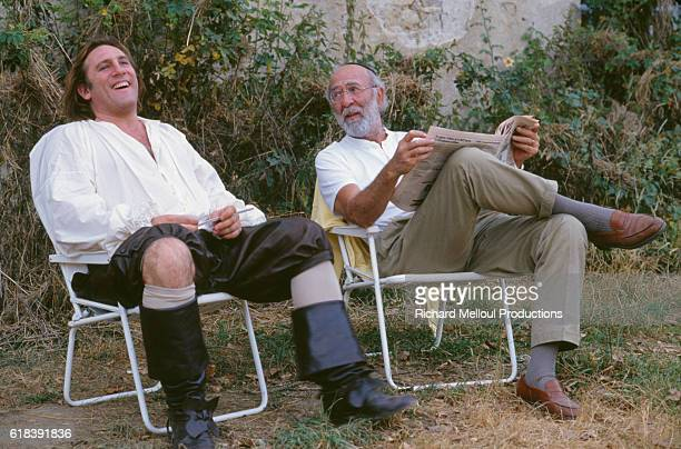 French actors Gerard Depardieu and JeanPierre Marielle on the set of Tous les Matins du Monde written and directed by Alain Corneau