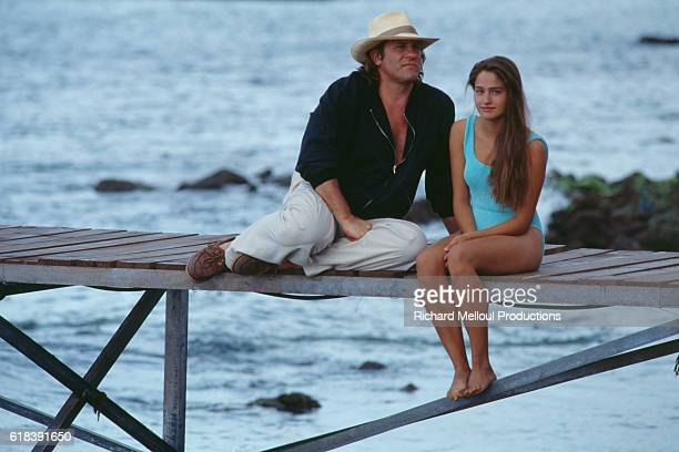 French actors Gerard Depardieu and Marie Gillain on the set of Mon Pere ce Heros