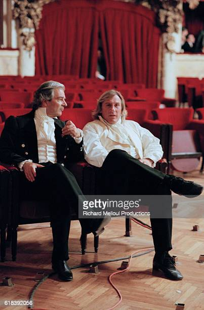 French actors Gerard Depardieu and Pierre Arditi on the set of the film Le Comte de MonteCristo by director Josee Dayan