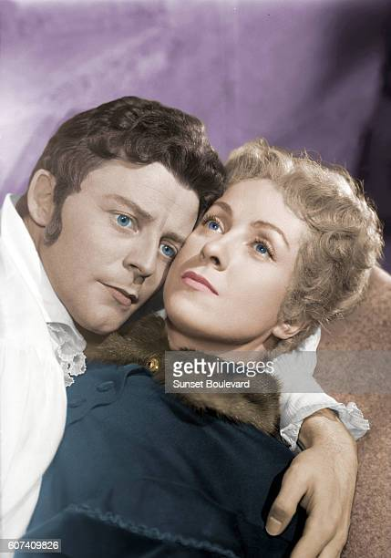 French actors Gerard Philipe and Danielle Darrieux on the set of Le Rouge et le Noir based on the novel by Stendhal and directed by Claude AutantLara