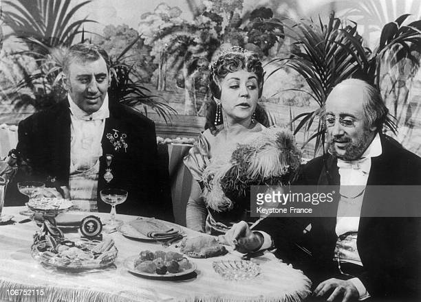 French Actors Gregoire Aslan Suzy Delair And JeanMarc Tennberg In 1970 This Photograph Is Taken From The TV Movie La Vie D'Offenbach