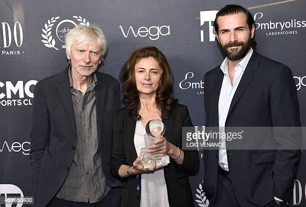 French actors Gregory Fitoussi Philippe Duclos and Caroline Proust pose with the Best tv show award for Engrenage during the 10th edition of the...