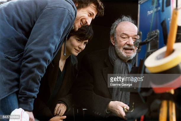 French actors Guillaume Canet Audrey Tautou and French director Claude Berri on the set of his film 'Ensemble c'est tout' based on Anna Gavalda's...