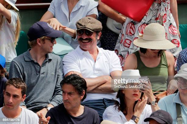 French actors Guillaume Canet Jean Dujardin and his partner former French figure skater Nathalie Pechalat French actor Yvan Attal and French actress...