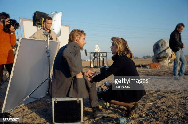 French actors Guillaume Depardieu and Catherine Deneuve on the set of the film Pola X directed by Leos Carax