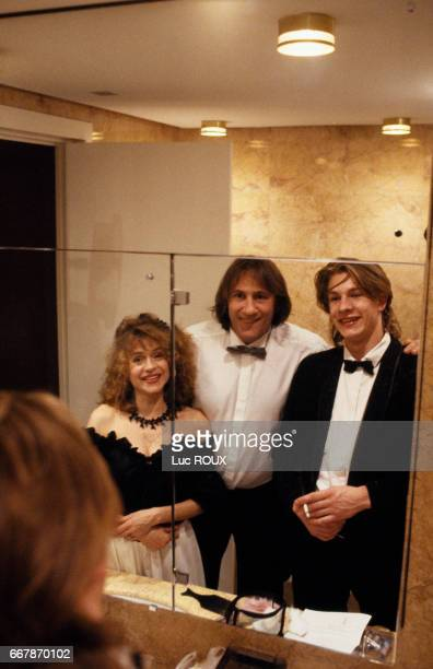 French actors Guillaume Depardieu with parents Elisabeth and Gerard Depardieu during the 43rd Cannes Film Festival