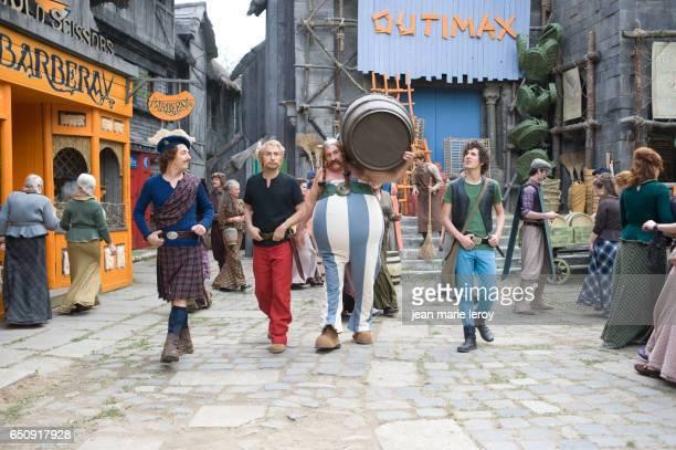 French actors Guillaume Gallienne, Edouard Baer, Gérard Depardieu and Vincent Lacoste on the set of Astérix & Obélix: Au service de sa Majesté, based...