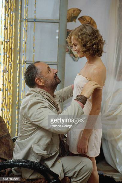 French actors Isabelle Huppert and Philippe Noiret on the movie set of Coup de torchon directed by Bertrand Tavernier