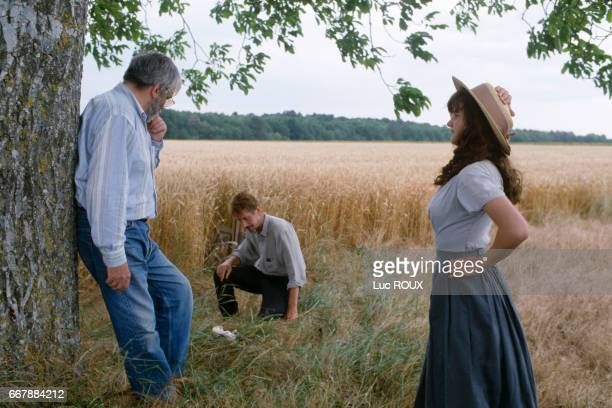 French actors Jacques Dutronc and Alexandra London with director and screenwriter Maurice Pialat on the set of his movie Van Gogh