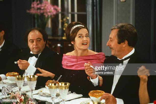 0fd2370aeb2 ...  Le Bal des Casse-Pieds . French actors Jacques Villeret Valerie  Lemercier and Jean Rochefort on the set of the film