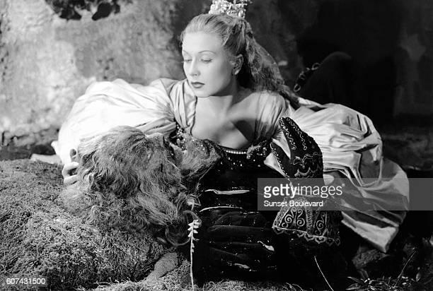 French actors Jean Marais and Josette Day on the set of La Belle et la Bête written and directed by Jean Cocteau