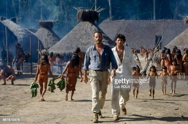 French actors Jean Reno and Patrick Bruel on the set of the film Le Jaguar directed by Francis Veber