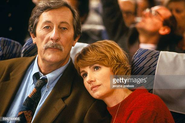 a9f209a92de French actors Jean Rochefort and MiouMiou on the set of the film  Le Bal des