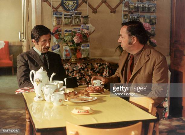 French actors Jean Rochefort and Philippe Noiret on the set of 'L'Horloger de SaintPaul' directed by Bertrand Tavernier who won the 1974 Silver Bear...