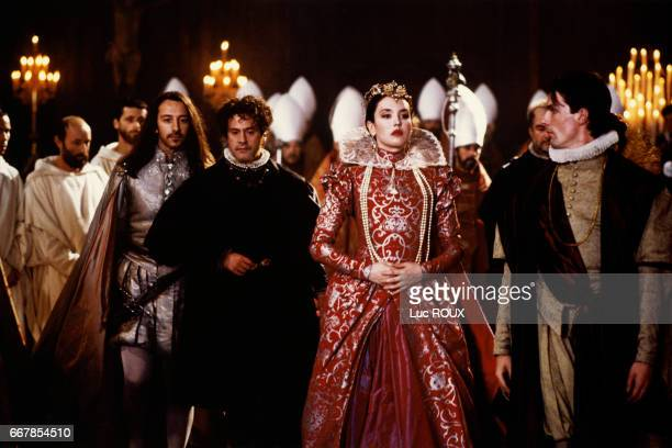 French actors Jean-Hugues Anglade and Daniel Auteuil with French actress Isabelle Adjani on the set of the 1994 film La Reine Margot , directed by...