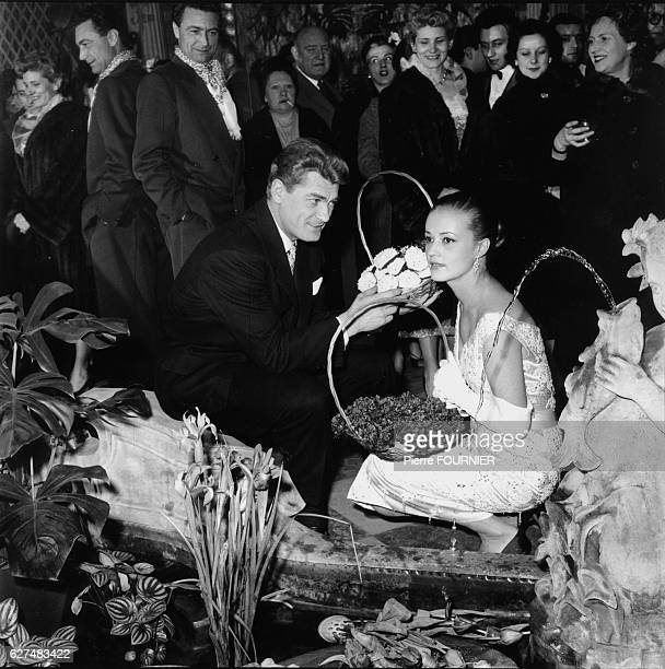 French actors Jeanne Moreau and Jean Marais at Bouffes Parisiens theatre after the play 'L'Aigle a deux tetes'