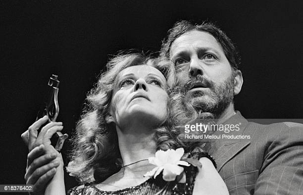 French actors Jeanne Moreau and Roland Bertin star in Lulu at the Theatre de l'Athenee The play was written by Frank Wedekind
