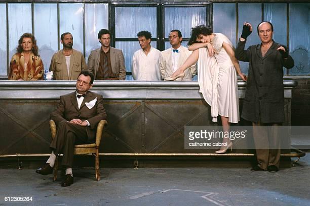 French actors Jeanne Moreau Jean Yanne Daniel Auteuil Philippe Leotard Richard Bohringer Fanny Ardant and Michel Piccoli and Claude Pieplu on the set...