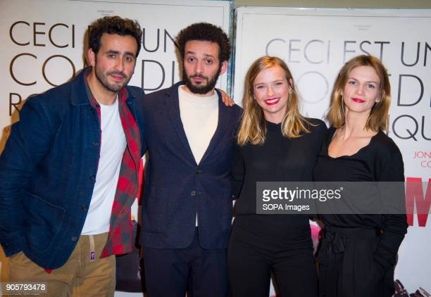 French actors Jonathan Cohen William Lebghil and french actress Camille Razat Margot Bancilhon at the premiere 'Ami Ami' in the cinema ugc cine cite...
