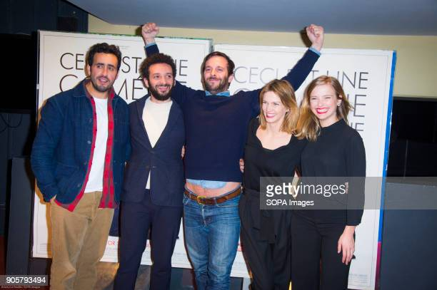 French actors Jonathan Cohen William Lebghil Director Victor Saint Macary french actress Camille Razat Margot Bancilhon at the premiere 'Ami Ami' in...