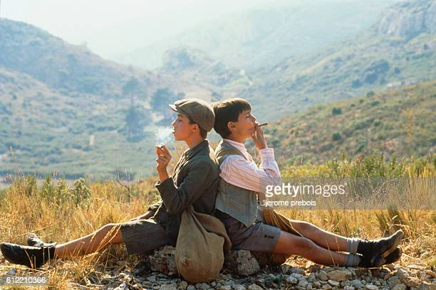 French actors Julien Ciamaca and Victorien Delamare on the set of the film 'La Gloire de Mon Pere' directed by Yves Robert
