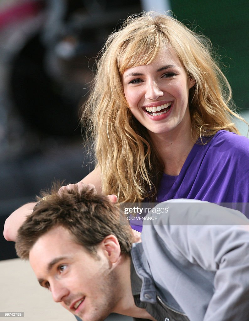 French actors Louise Bourgoin and Gregoire Leprince-Ringuet attend the Canal+ TV show 'Le Grand Journal' at the 63rd Cannes Film Festival on May 17, 2010 in Cannes.